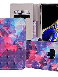 billige -Etui Til Samsung Galaxy Note 9 Pung / Kortholder / Med stativ Fuldt etui Geometrisk mønster / Farvegradient Hårdt PU Læder for Note 9