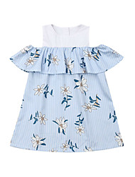 abordables -bébé Fille Actif / Basique Rayé / Fleur Mosaïque Manches Courtes Coton Robe Bleu / Bébé