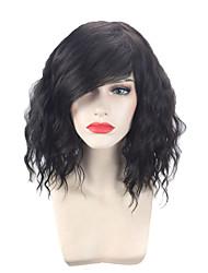 halpa -Synteettiset peruukit Kihara / Laineita EMMA Tyyli Pixie-leikkaus Suojuksettomat Peruukki Musta Musta Synteettiset hiukset 14 inch Naisten Säädettävä / Heat Resistant / Helppo pukeutuminen Musta