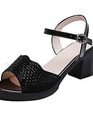 ราคาถูก -สำหรับผู้หญิง PU ฤดูร้อน ไม่เป็นทางการ รองเท้าแตะ ส้นหนา หินประกาย สีดำ / Almond