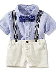 levne -Dítě Chlapecké Základní Jednobarevné / Proužky Krátký rukáv Standardní Bavlna Sady oblečení Vodní modrá
