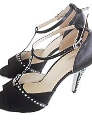 Недорогие -Жен. Танцевальная обувь Сатин Обувь для латины Crystal / Rhinestone На каблуках Тонкий высокий каблук Персонализируемая Черный