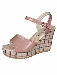 hesapli -Kadın's Ayakkabı PU Yaz Günlük Sandaletler Dolgu Topuk Günlük için Siyah / Bej / Pembe