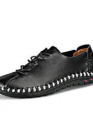 Недорогие -Муж. Комфортная обувь Кожа Весна лето На каждый день Мокасины и Свитер Дышащий Черный / Белый / Желтый