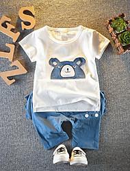 abordables -bébé Garçon Actif / Basique Points Polka / Mosaïque Mosaïque Manches Courtes Normal Normal Coton Ensemble de Vêtements Blanc