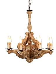 abordables -Ecolight 8 lumières Bougie / Spoutnik / Globe Lustre Lumière d'ambiance Finitions Peintes Bois Bois / Bambou Bois / Bambou Ajustable, Style Bougie, Arbre 110-120V / 220-240V