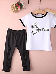 levne -Děti Chlapecké Aktivní / Základní Jednobarevné Krátký rukáv Bavlna Sady oblečení Černá