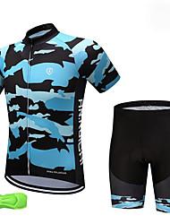 baratos -Para Meninos Manga Curta Camisa com Shorts para Ciclismo - Azul Marinho Moto Respirável Pavio Humido Secagem Rápida Esportes Gráfico Ciclismo de Montanha Ciclismo de Estrada Roupa / Com Stretch