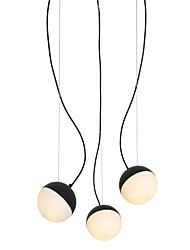 Недорогие -Подвесной светильник с 3 лампами / стеклянный светильник для гостиной, столовой, кафе, кафе, окрашенный в черный цвет / 110–120 В / 220–240 В / e12 / e14 без лампы / доступна модель a / b