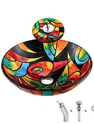 Недорогие -умывальник для ванной / монтажное кольцо для ванной / водосток для ванной Современный - Закаленное стекло Круглый Vessel Sink