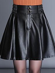 Недорогие -Жен. Большие размеры Качеля Подол Однотонный С разрезами Черный M L XL / Свободный силуэт