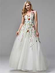 cheap -A-Line V Neck Floor Length Lace / Tulle Formal Evening Dress with Beading / Embroidery by TS Couture®