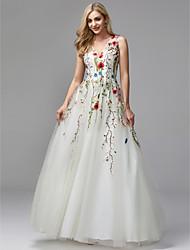 preiswerte -A-Linie V-Ausschnitt Boden-Länge Spitze / Tüll Formeller Abend Kleid mit Perlenstickerei / Stickerei durch TS Couture®