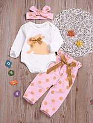 abordables -Bebé Chica Básico Estampado Estampado Manga Larga Regular Algodón Conjunto de Ropa Blanco