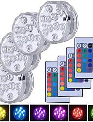 Недорогие -4шт 5 W Подводное освещение Водонепроницаемый / Дистанционно управляемый / Диммируемая Поменять 1.2 V Подходит для ваз и аквариумов 10 Светодиодные бусины