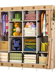 billige -multi-funktion klædeskab stof folde klud opbevaringsskab diy montering nem installation forstærkning garderobe skab