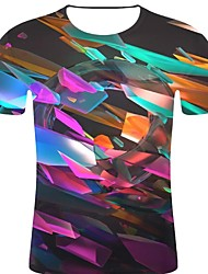 お買い得  -男性用 プリント Tシャツ ロック / 誇張された 3D / 虹色 / グラフィック レインボー XXL
