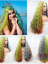 저렴한 -합성 레이스 프론트 가발 곱슬한 / 무광 스타일 중간 부분 전면 레이스 가발 레드 무지개 인조 합성 헤어 24 인치 여성용 코스프레 / 파티 / 여성 레드 / 블루 가발 긴 Sylvia 130 % 인간의 머리카락 밀도 코스플레이 가발