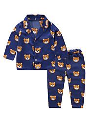 Недорогие -2шт Дети Мальчики Активный Классический Геометрический принт Пижамы Тёмно-синий
