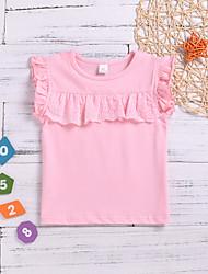levne -Dítě Dívčí Základní Jednobarevné Bez rukávů Bavlna / Polyester Košilky Světlá růžová