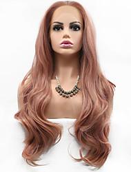 halpa -Synteettiset peruukit Kihara Tyyli Keskiosa Suojuksettomat Peruukki Vaaleanpunainen Pinkki / Purppura Synteettiset hiukset 26 inch Naisten Muodikas malli / Naisten / synteettinen Vaaleanpunainen