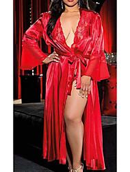 Недорогие -Жен. Кружева / Длиные Большие размеры Сексуальные платья Халат / Шёлк и сатин Ночное белье Однотонный Белый Черный Красный XL XXL XXXL / Глубокий V-образный вырез