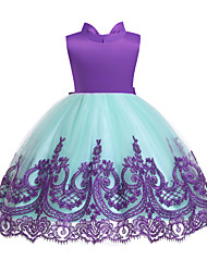 cheap -Toddler Girls' Active / Cute Color Block Lace / Backless / Bow Sleeveless Knee-length Cotton / Polyester Dress Purple