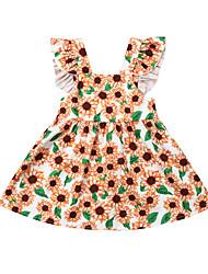 abordables -bébé Fille Actif / Basique Fleur Imprimé Sans Manches Coton Robe Jaune