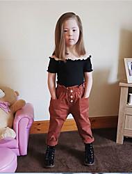 abordables -Enfants Fille Chic de Rue / Sophistiqué Couleur Pleine Dos Nu Manches Courtes Normal Normal Coton Ensemble de Vêtements Noir
