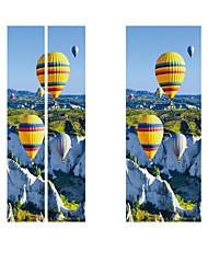 Недорогие -Creative diy 3d-эффект дверные наклейки ущелье воздушный шар шаблон для украшения стены комнаты домашнего декора аксессуары стикер стены