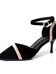 ราคาถูก -สำหรับผู้หญิง PU ฤดูใบไม้ผลิ & ฤดูใบไม้ร่วง หวาน / minimalism รองเท้าส้นสูง ส้น Stiletto Pointed Toe หัวเข็มขัด สีดำ / Almond / ลายบล็อคสี