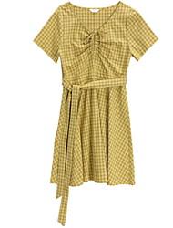 hesapli -Kadın diz boyu kayması elbise v yaka pamuk sarı s m l xl