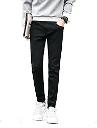 tanie -Męskie Podstawowy Typu Chino Spodnie - Solidne kolory Niebieski
