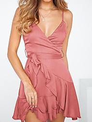 Недорогие -Жен. Классический С летящей юбкой Платье - Однотонный, Рюши На бретелях Ассиметричное Пыльная роза