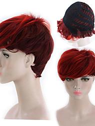 billige -Blondeparykker af menneskehår Kinky Glat Stil Mellemdel Lågløs Paryk Mørkebrun Rød Syntetisk hår 26 inch Dame Dame Mørkebrun Paryk Lang Naturlig paryk
