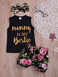 abordables -Bebé Chica Básico Floral Estampado Manga Corta Regular Algodón Conjunto de Ropa Negro