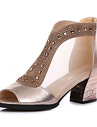 46aab26fe0d Γυναικεία Παπούτσια χορού λάτιν Δέρμα / Δίχτυ Τακούνια Πυκνό τακούνι  Εξατομικευμένο Παπούτσια Χορού Χρυσό / Μαύρο