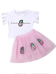 abordables -Enfants / Bébé Fille Actif / Bohème Mosaïque / Fruit Maille Manches Courtes Normal Coton Ensemble de Vêtements Vert
