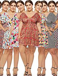 preiswerte -A-Linie V-Ausschnitt Kurz / Mini Baumwolle Kleid mit Muster / Druck durch LAN TING Express