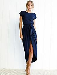 tanie -Damskie Moda miejska Elegancja Tunika Sukienka Wiązanie Maxi