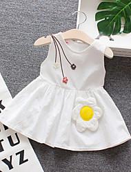 abordables -bébé Fille Actif / Basique Fleur Imprimé Sans Manches Coton Robe Blanc / Bébé