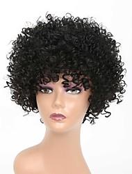 Недорогие -Парики из искусственных волос Афро Квинки Rihanna Стиль Свободная часть Без шапочки-основы Парик Черный Искусственные волосы 10 дюймовый Жен. Классический Легко для того чтобы снести Легко туалетный