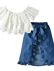 cheap -Kids / Toddler Girls' Active Solid Colored Lace / Bow Short Sleeve Short Cotton Clothing Set White