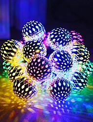 Недорогие -1 компл. Светодиодный фонарь солнечный свет строка 5 м 20 свет марокканский шар железный шар открытый водонепроницаемый свет