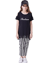 abordables -Enfants Fille Actif / Basique Imprimé Imprimé Manches Courtes Normal Normal Coton Ensemble de Vêtements Noir
