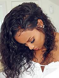 billige -Menneskehår Blonde Front Paryk Deep Parting stil Brasiliansk hår Krøllet Paryk 130% Hår Densitet Nem dressing Smuk Bekvem Naturlig Dame Blondeparykker af menneskehår yingcai