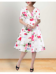 Χαμηλού Κόστους -Γυναικεία Θήκη Φόρεμα - Φλοράλ Ως το Γόνατο