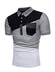Недорогие -Муж. Polo Рубашечный воротник Контрастных цветов Белый
