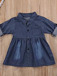 abordables -bébé Fille Actif / Chic de Rue Couleur Pleine Manches Longues 70-80 cm Coton Robe Marine / Bébé