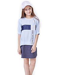 abordables -Enfants Fille Actif / Basique Mosaïque Mosaïque Manches Courtes Normal Coton Ensemble de Vêtements Bleu clair